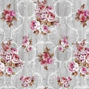 Vaxduk Blommor - Grå/Rosa