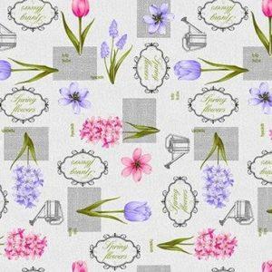 Vaxduk Blommor Text - Vit
