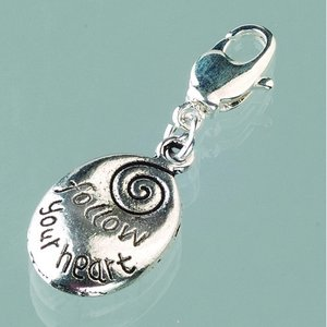 Berlock 17 mm - gammalt silver 1 st. oval