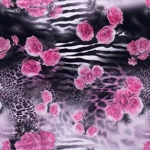 Mönstrad Trikå 150 cm - Rosor Djur Rosa