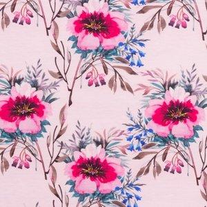 Mönstrad Trikå 160 cm - Akvarell Blommor Gammaldags Rosa