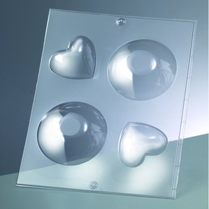 Billigtpyssel.se | 3-D Gjutform för tvål 85 mm / 62 mm - rund + hjärta / 2 delar