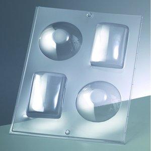 3-D Gjutform för tvål 75 x 55 mm / 80 x - runda + kvadrat / 2 delar