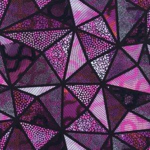 Mönstrad Trikå 150 cm - Mosaik Trianglar Rosa