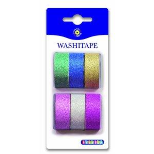 Washitape Plain Glitter 6-pack