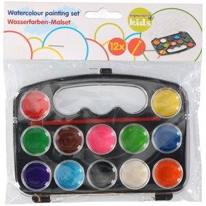 Vattenfärgslåda - 12färger + pensel