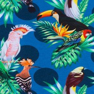 Mönstrad Trikå 160 cm - Tropiska Fåglar Jeans