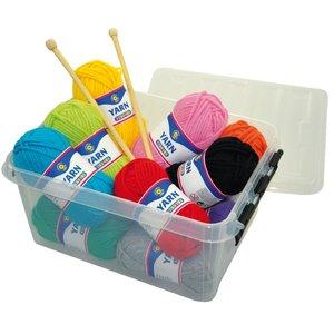 Garnbox - 12 nystan i olika färger (samt ett par stickor)