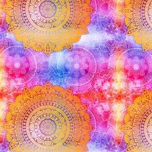 Mönstrad Trikå 150 cm - Mandala Ockra