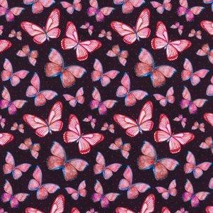 Mönstrad Trikå 150 cm - Vattenfärg Fjäril Rosa