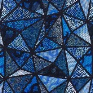 Mönstrad Trikå 150 cm - Mosaik Trianglar Blå