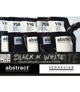 Billigtpyssel.se | Akrylfärgset Sennelier Abstract - Black&White set 5 x 120ml