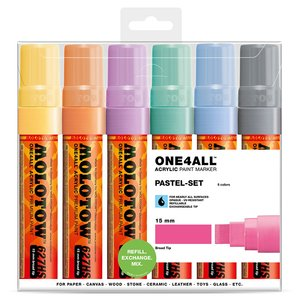 Billigtpyssel.se | Akrylmarker One4All 15 mm 6 Pennor - Pastel