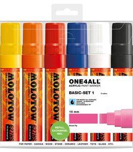 Billigtpyssel.se | Akrylmarker One4All 15mm 6 Pennor - Basic I
