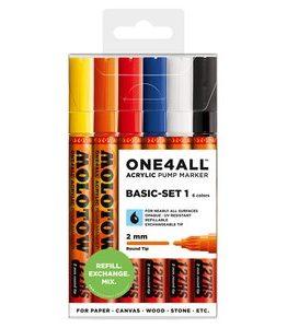 Billigtpyssel.se | Akrylmarker One4All 2mm 6 Pennor - Basic I