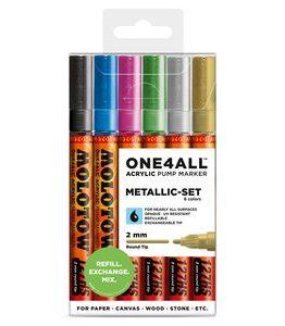 Billigtpyssel.se   Akrylmarker One4All 2mm 6 Pennor -Metallic