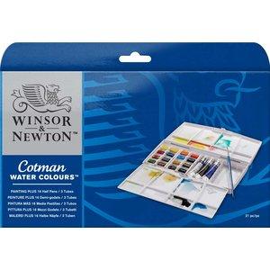 Billigtpyssel.se | Akvarellfärg W&N Cotman -Målarbox 16+3 färger