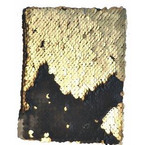 Billigtpyssel.se | Anteckningsbok Paljetter Svart/Guld