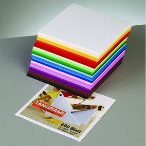Billigtpyssel.se | Ark för vikning - Tangrami 10 x 10 cm - 500 ark / 70 g / m² 10 färger / blandade