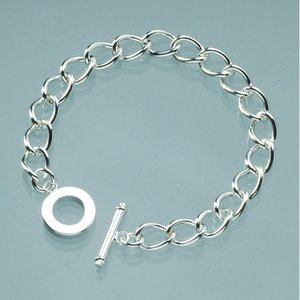 Billigtpyssel.se | Armband l 18 cm - försilvrad oval tunn