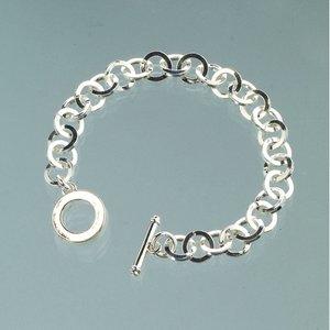 Billigtpyssel.se | Armband l 18 cm - försilvrade platta länkar
