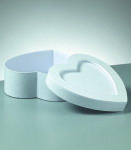 Billigtpyssel.se | Ask mosaik 15 x 15 x 6 cm - vitt hjärta