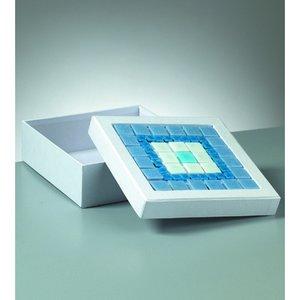 Billigtpyssel.se | Ask mosaik 17 x 17 x 6 cm - vit kvadrat