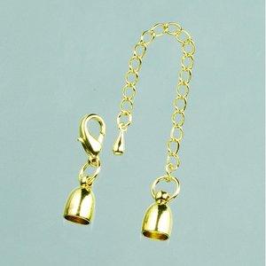 Billigtpyssel.se | Avslutningsdel ø 6 mm - 15 st - guldfärgad med kedja
