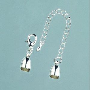 Billigtpyssel.se | Avslutningsdel ø 6 mm - silverfärgad 1 st. med kedja