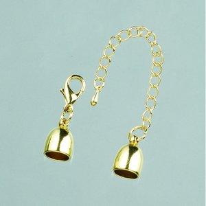 Billigtpyssel.se   Avslutningsdel ø 8 mm - 15 st - guldfärgad med kedja