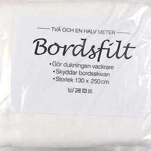 Billigtpyssel.se | Bordsfilt Polyester - Vit - 130 x 250 cm