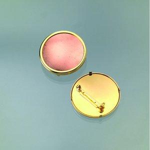 Billigtpyssel.se | Brosch för emaljering 36 mm - guldpläterad rund