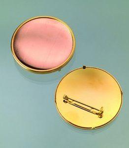 Billigtpyssel.se | Brosch för emaljering 49 mm - guldpläterad rund