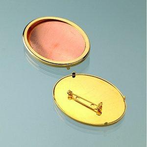 Billigtpyssel.se | Brosch för emaljering 54 x 40 mm - guldpläterad oval
