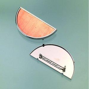 Billigtpyssel.se | Brosch för emaljering 60 x 30 mm - silverfärgad halvrund