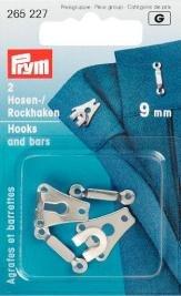 Billigtpyssel.se | Byx- & kjolhakar silverfärg 9 mm 2 st