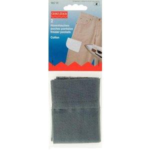Billigtpyssel.se | Byxfickor 1/2 påstrykes bomull grå 2 st