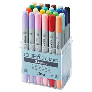 Billigtpyssel.se | Copic Ciao set - 24 pennor - Basfärger