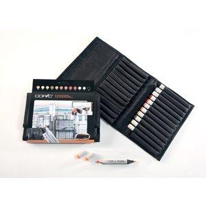 Billigtpyssel.se | Copic Marker Wallet - 12 pennor - Arkitektfärger
