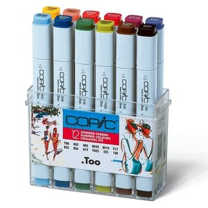Billigtpyssel.se | Copic Marker set - 12 pennor - Sommarfärger