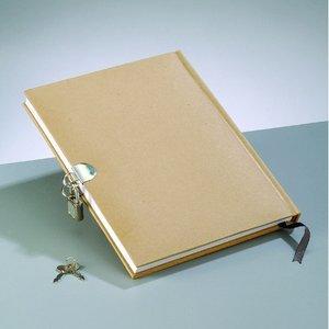 Billigtpyssel.se | Dagbok 21 x 16 cm - brun 70 ark med lås
