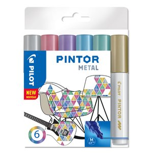 Billigtpyssel.se | Fiberpennset Pilot Pintor (Metal Mix) - Medium