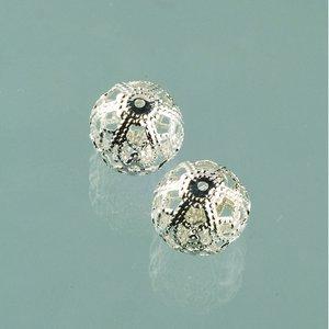 Billigtpyssel.se | Filigran smyckespärla ø 11 mm - försilvrade 4 st.