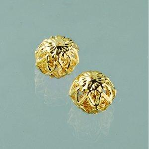 Billigtpyssel.se | Filigran smyckespärla blank ø 10 mm - guldpläterade 4 st.