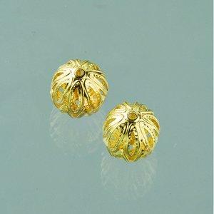 Billigtpyssel.se | Filigran smyckespärla fin ø 10 mm - guldpläterade 4 st.