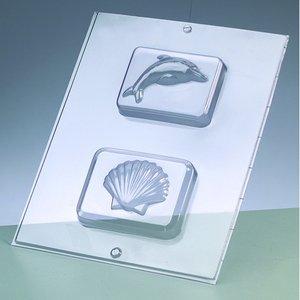 Billigtpyssel.se   Gjutform för tvål - delfin + skal / 2 delar