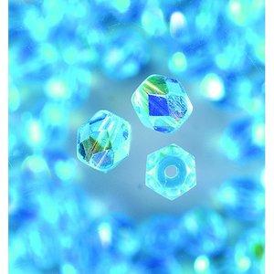 Billigtpyssel.se | Glaspärlor facetterade - aqua - runda
