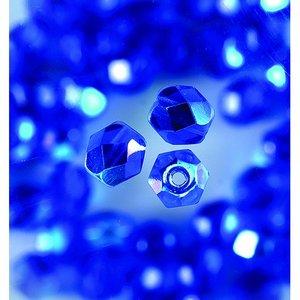 Billigtpyssel.se | Glaspärlor facetterade - blå - runda
