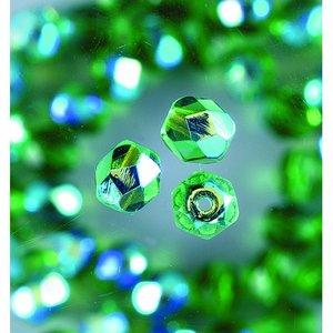 Billigtpyssel.se | Glaspärlor facetterade - grön - runda