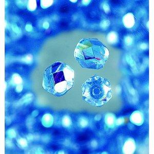 Billigtpyssel.se   Glaspärlor facetterade - halvblå - runda